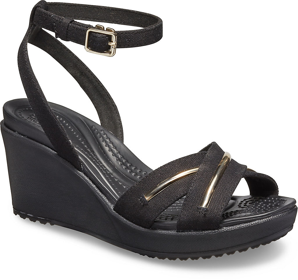 Купить Women's Leigh II Metal-Block Cross-Strap Ankle Wedge, crocs, 98A