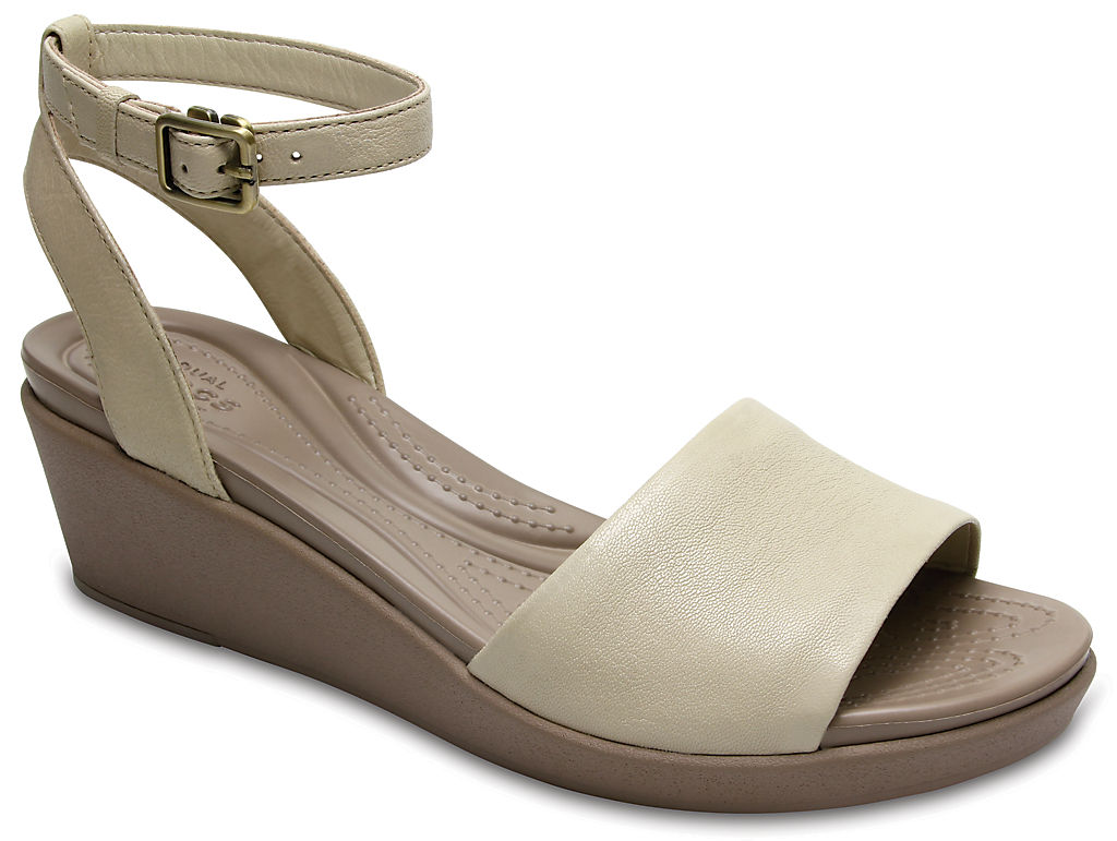 Купить Women's Crocs Leigh-Ann Ankle Strap Leather Mini Wedge, 160